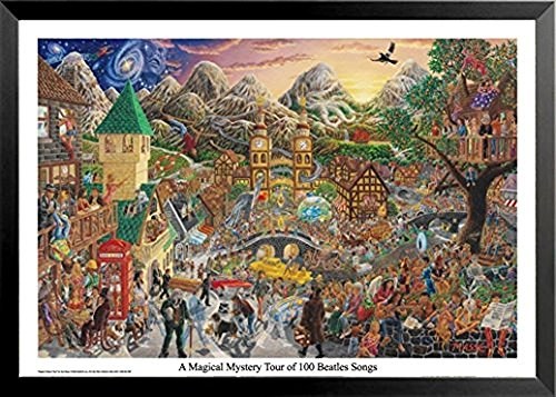 Buyartforless Framed A Magical Mystery Tour of 100 Beatles Songs by Tom Masse 32x22 Music Art Print Poster Rock and Roll Man Cave