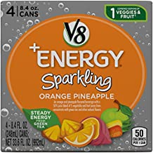 V8 +Energy Sparkling Drink, Orange Pineapple, 8.4 Ounce, 4 Count (Pack of 6) (Packaging May Vary)
