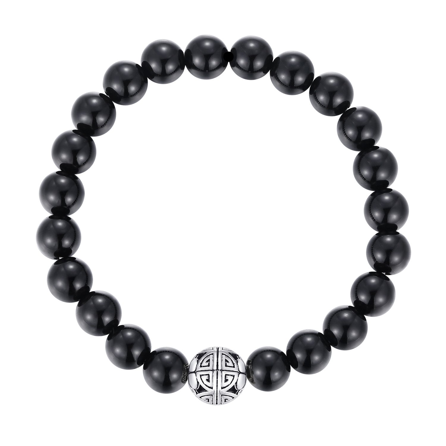 Natural 8mm Gorgeous Men Women Semi-Precious Gemstones Healing Crystal Stretch Beaded Bracelet Unisex Bangle with 925 Sterling Silver Double Happiness Pendant (Black Agate)