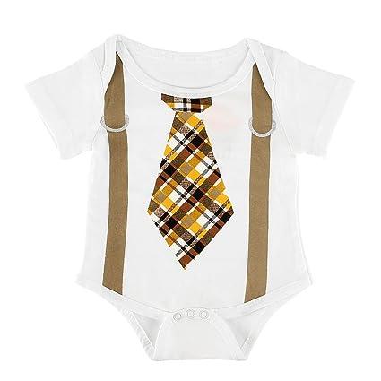 puseky Pelele de bebé recién nacido niños corbata Impresión Mono de manga corta Body de ropa