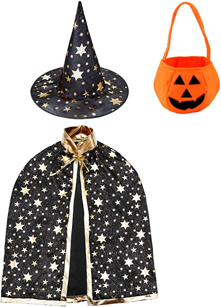 Halloween Costume Props for Kids Cosplay Party Nobranded Wizard Cape Witch Cloak with Hat