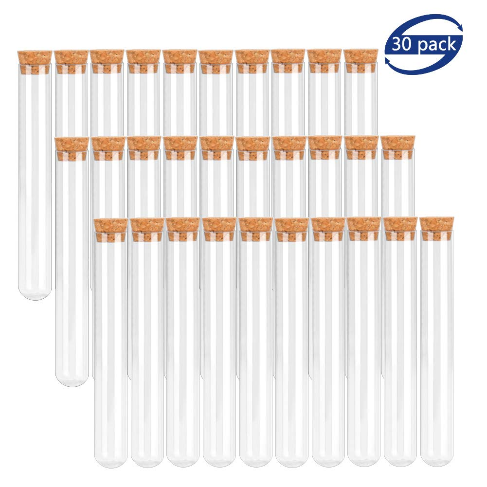 BTSD-home 20x150mm Plastic Test Tubes with Cork Stoppers for Scientific Experiments, Halloween, Christamas, Scientific Themed Kids Birthday Party Supplies, Decorate The House, Candy Storage(30 Pack) by BTSD-home