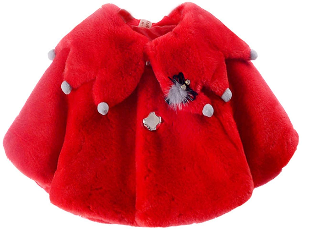 YOGLY Manteau Bébé Fille Hiver Chaud Fausse Fourure Ultra Épais Cape Poncho Polaire Vêtements d'extérieur Blouson Mignon