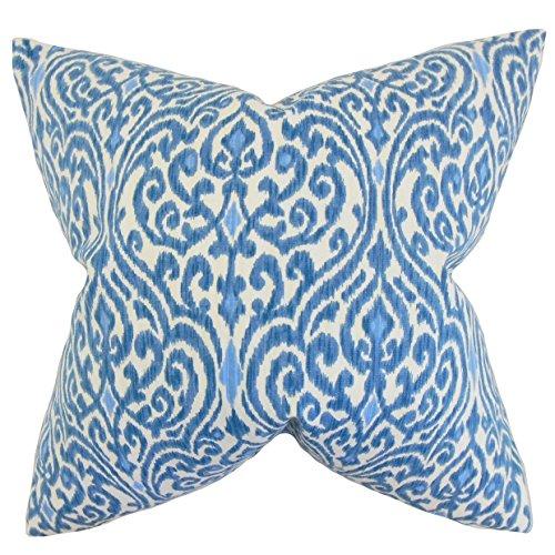 (The Pillow Collection Ennis Ikat Bedding Sham Blue European/26 x 26