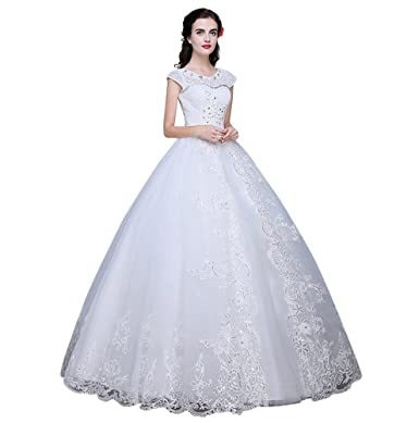 Drasawee Top Tulle Pearls Rhinestones Embellished Wedding Dress ...