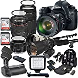 Canon EOS 6D 20.2 MP Full Frame CMOS Digital SLR DSLR Camera w/ EF 24-105mm f/4 L IS USM Lens + EF 75-300mm f/4-5.6 III Telephoto + 500mm f/8 Preset Lens + Holiday Accessory Bundle + More!