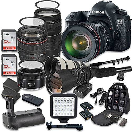 Canon EOS 6D 20.2 MP Full Frame CMOS Digital SLR DSLR Camera w/ EF 24-105mm f/4 L IS USM Lens + EF 75-300mm f/4-5.6 III Telephoto + 500mm f/8 Preset Lens + Holiday Accessory Bundle + More! (Canon 5d Mark Iii Flash Bracket)