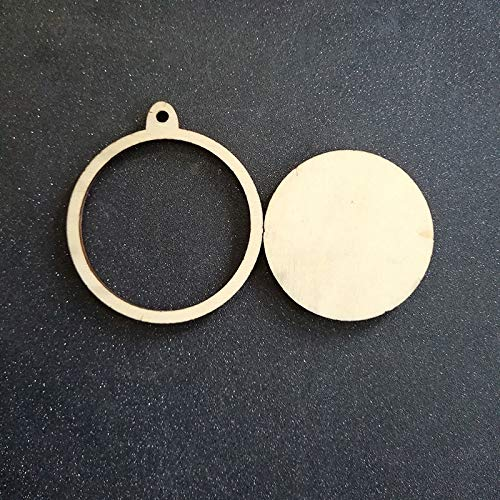 Mehtah Store Wood Ornament Blanks 60pcs Unfinished Blank Wood Circle Ornaments Frame Wooden Laser Cut Charm Disc