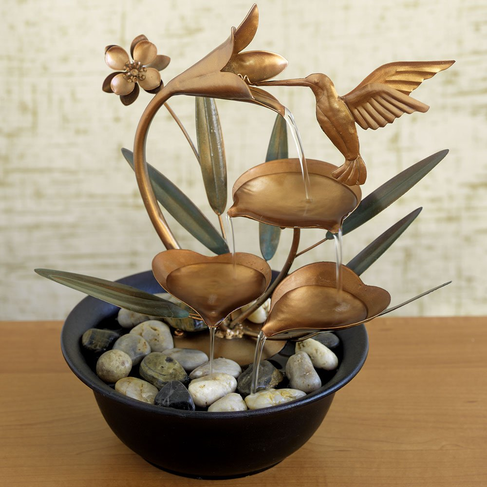Bits and Pieces - Indoor Hummingbird Lily Fountain - Zen Tabletop Water Fountain by Bits and Pieces (Image #1)