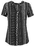 Zeagoo Women's Long Sleeve Bohemian Neck Tie Vintage Printed Boho Ethnic Style Loose Blouse (L, Black-Short Sleeve)