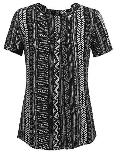 88d14006cb4 Zeagoo Women s Long Sleeve Bohemian Neck Tie Vintage Printed Boho Ethnic  Style Loose Blouse (L
