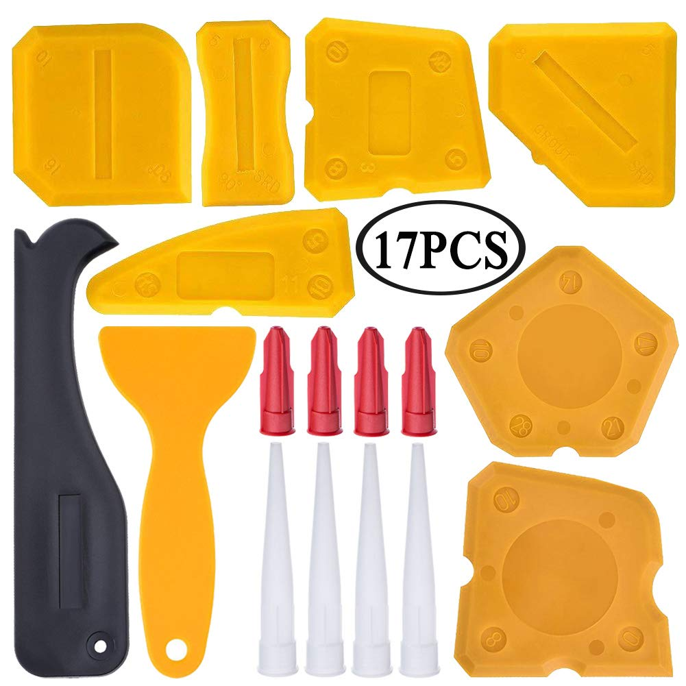 17 Pieces Caulking Tool Kit Silicone Sealant Finishing Tool Grout Scraper Caulk Remover and Caulk Nozzle and Caulk Caps (Yellow)