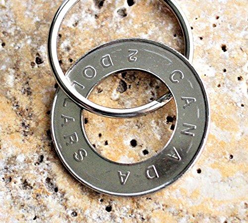 Canadian Coin Toonie Rim Keychain 2 Dollars Canada Key Ring