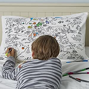 doodle world map pillowcase color your own pillow case coloring pillowcase with 10. Black Bedroom Furniture Sets. Home Design Ideas