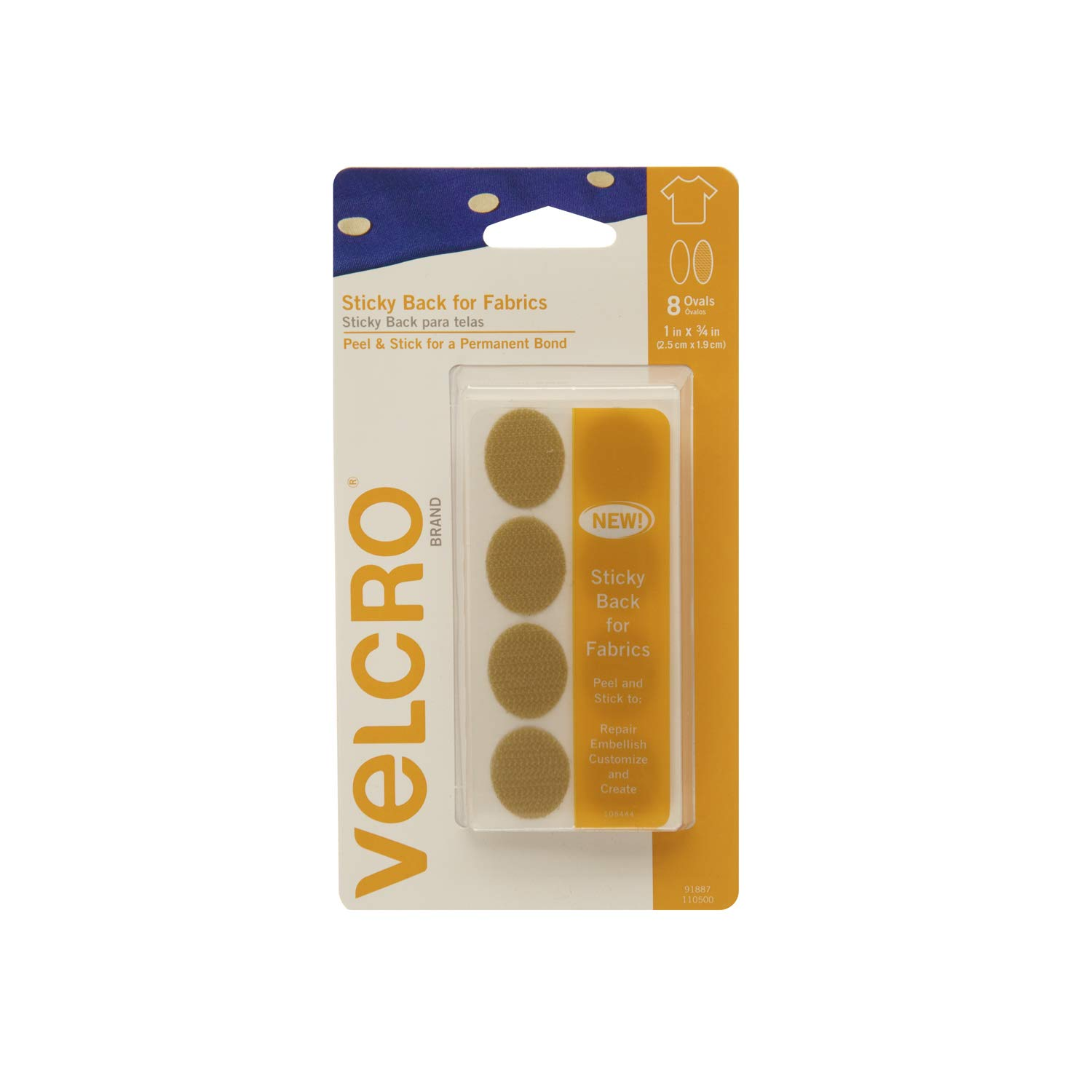 VELCRO Brand - Sticky Back for Fabrics Fasteners | No Sewing Needed | 1 x 3/4 Ovals - 16 Sets | Black 91901