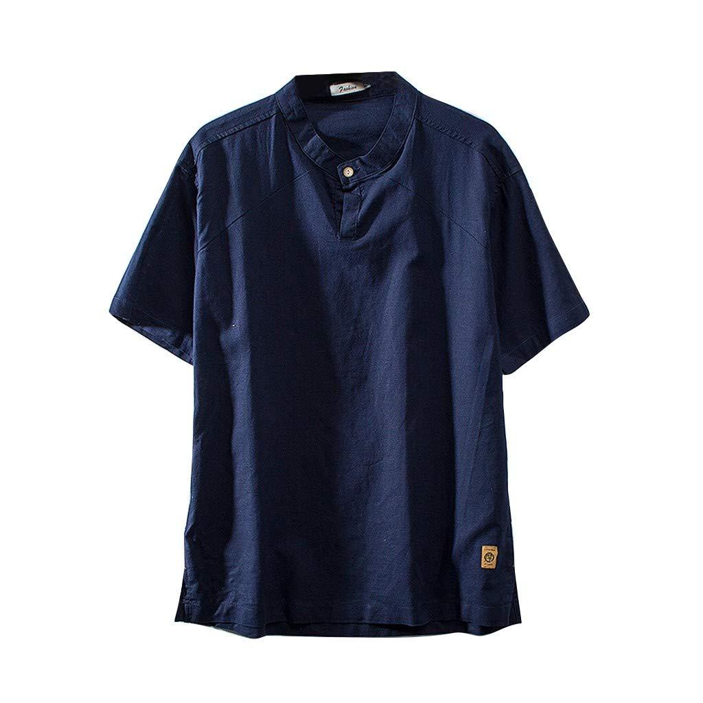 Mens Linen Shirts,Sharemen Beach Fashion Summer Cotton Linen Solid Color Short Sleeve Retro T Shirts Tops Blouse(Dark Blue,XL)