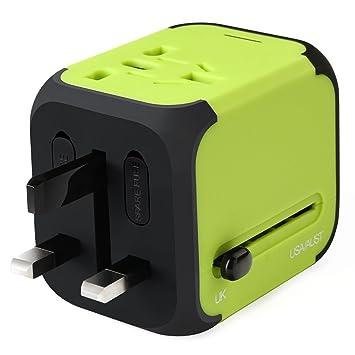 Adaptador Viaje Enchufe Universal y cargador todo-en-uno viaje del mundo es adaptador de corriente universal,con doble USB y Seguridad de Fusibles ...