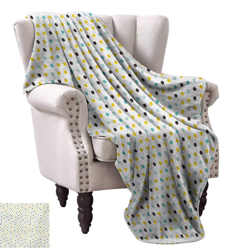 Anyangeight Weave Pattern Extra Long Blanket,Polka Dots Rounds Vintage Retro 58s 50s Themed Image 50''x30'',Super Soft and Comfortable,Suitable for Sofas,Chairs,beds