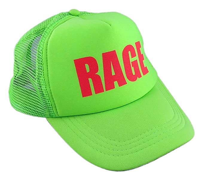 d5b786d3237 Amazon.com  Funny Guy Mugs Rage Neon Green Trucker Hat  Clothing