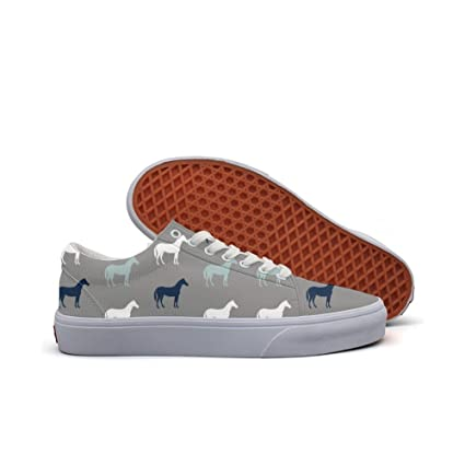 womens Skateboarding Shoes Canvas horses in charcoal Sport Sneaker