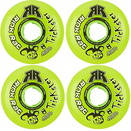 Rink Rat Wheels 80mm 76a Trickster 4-Pack Green Inline Indoor Roller Hockey