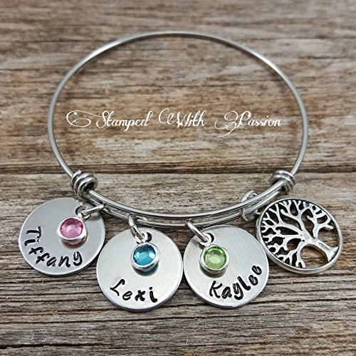 Family Tree Birthstone and Name Bracelet