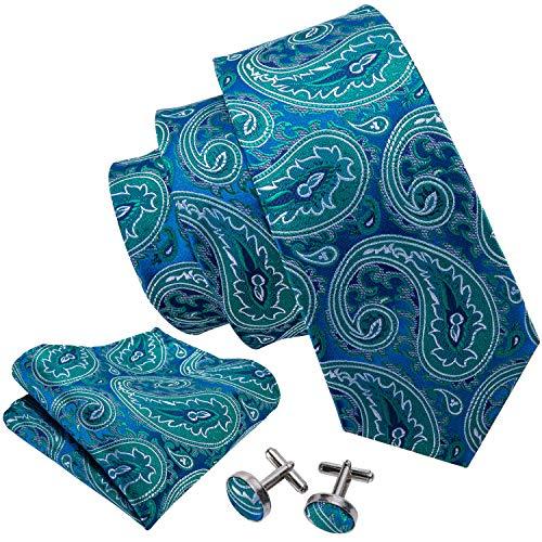 - Barry.Wang Teal Tie Set Cufflink and Handkerchief Woven Silk,Teal,One Size