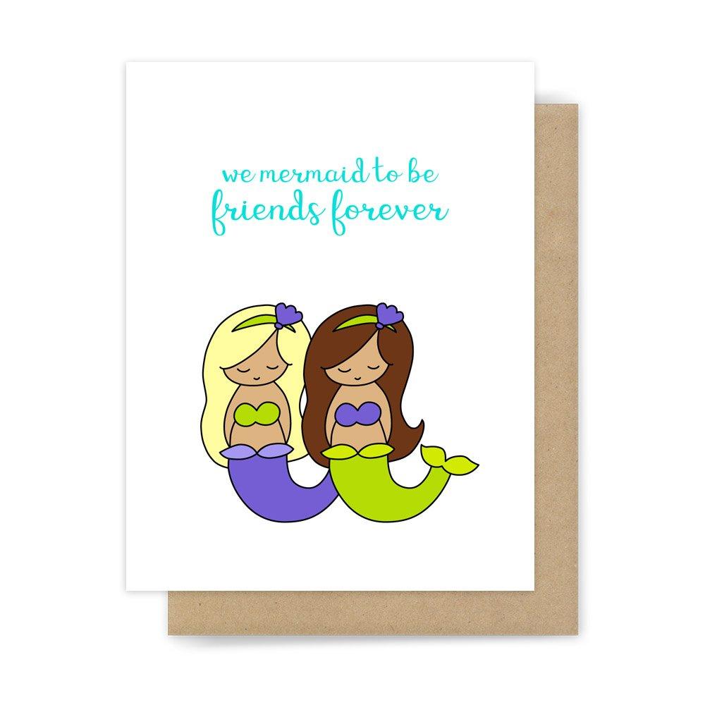 Amazon Best Friend Card Friendship Mermaid Pun Handmade