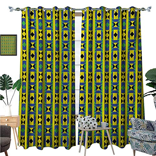 BlountDecor Kente Pattern Window Curtain Fabric Geometric Vertical Borders Funky Colorful Native Kenya Design with Triangles Drapes for Living Room W84 x L96 Multicolor
