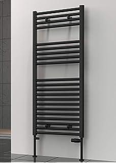 Toalla de radiador de lujo de alta calidad, color negro, escalera, calefacción central, calentador de toallas con juego de toallas de baño de algodón puro (400 x 1200): Amazon.es: Bricolaje y herramientas