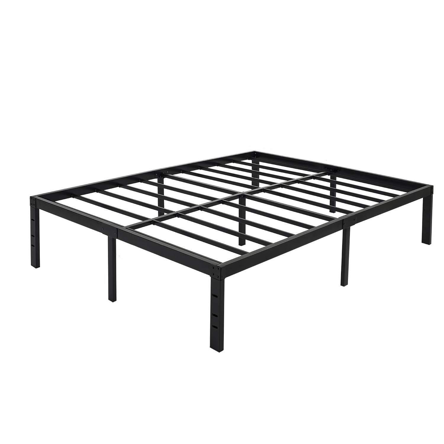 45MinST 18 Inch Maximum Storage Bed Frame Reinforced Platform 3500lbs Heavy Duty Easy Assembly Mattress Foundation Steel Slat Noise Free Twin Full Queen King Cal King Queen
