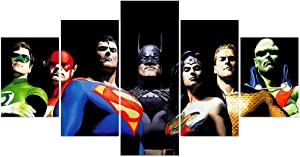FUNHUA DC Posters 5 Pieces Justice League Canvas Painting Unframed Super Hero Picture Art Print Wall Decor for Boy Room Playroom Bedroom Living Room Home