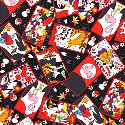 Black colorful animal ninja rectangle fabric (per 0.5 yard unit)
