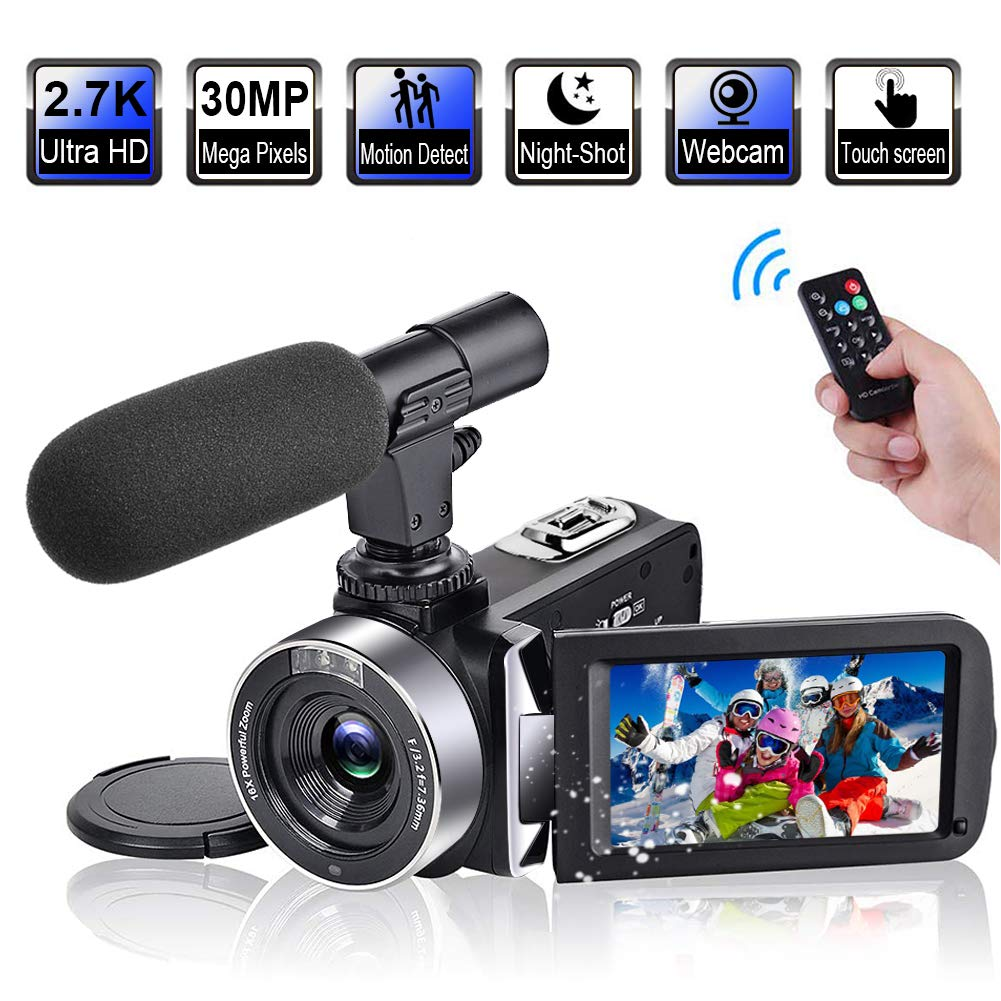 Video Camera Camcorder with Microphone 2.7K 30FPS 30MP Vlogging Camera with Rotatable 3.0'' Touch Screen and Time-Lapse YouTube Camera IR Night Vision Webcam