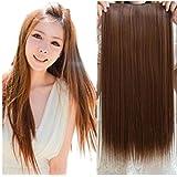 "Roiii WOMEN LADIES 23"" LONG CURLY WAVY 5 CLIPS IN ON HAIR EXTENSIONS FULL HEAD DEEP BROWN"