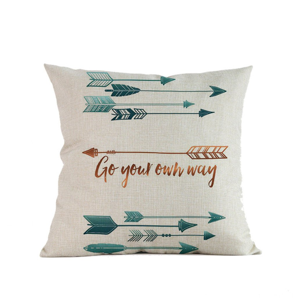 Woaills Throw Pillow case, Decorative Feather Arrow Printing Cushion Cover 18 x 18 Inches, Invisible Zipper (D)