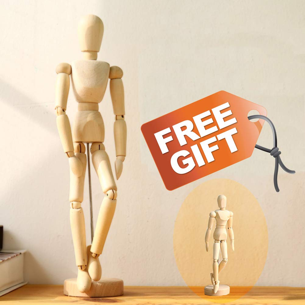 Wooden-Drawing-Mannequin-Figure-Art-Model posable Manikin for Artist 12 Inch and 4.5 Inch Set by ARTOMO