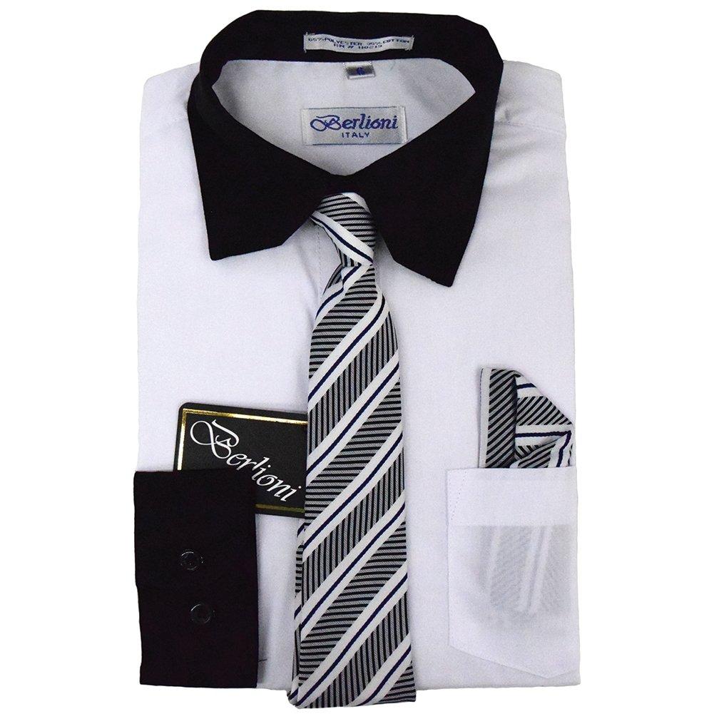 Berlioni Boys Two Tone Wedding Dress Shirts Kids Long Sleeve Tie & Hanky-White-6