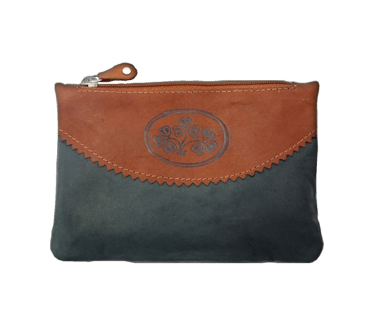 Leather Wallet Clutch Shamrock Design Made in Ireland