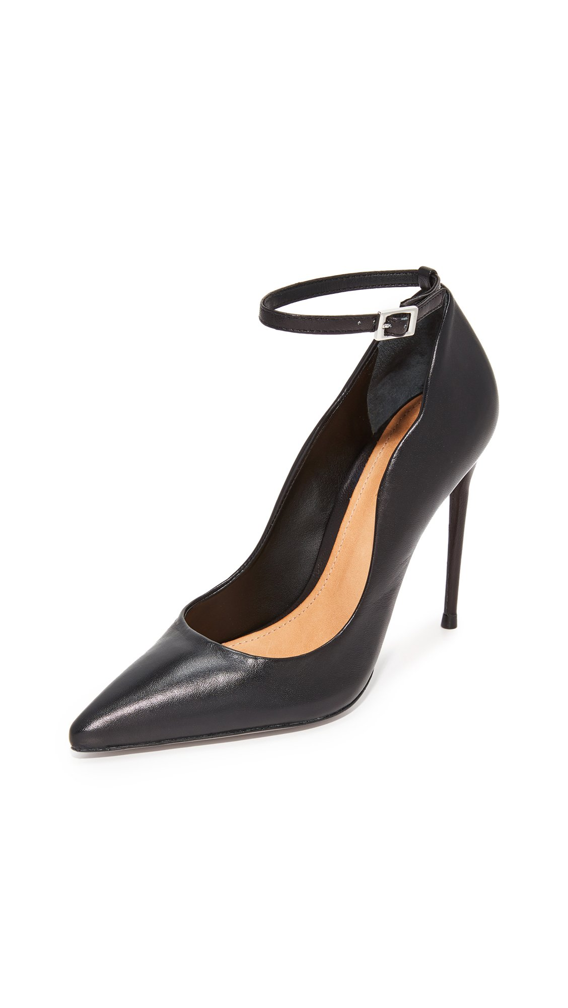 Schutz Women's Thaynara Ankle Strap Pointed Heels, Black, 5.5 B(M) US