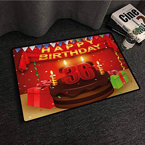 (DILITECK Door mat Customization 36th Birthday Celebration Party with Cake Candles and Presents Happy Birthday Print All Season General W35 xL59 Red and Burgundy)
