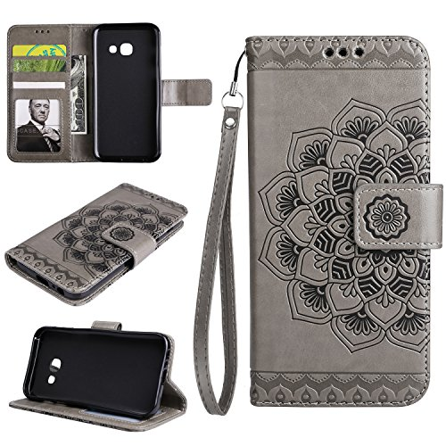 Cfrau Wallet Case with Black Stylus for Samsung Galaxy A7 2017/A720,Retro 3D Henna Mandala Floral Embossed Magnetic Strap Flip PU Leather Card Slots Stand Soft Rubber Case for Galaxy A7 2017/A720,Gray
