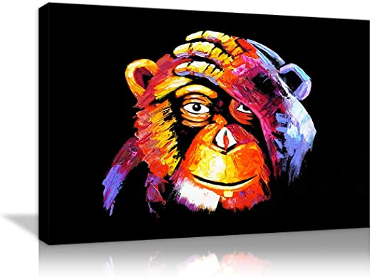 Picture Poster Animal Monkey Art Gorilla Thinking About Life Framed Print