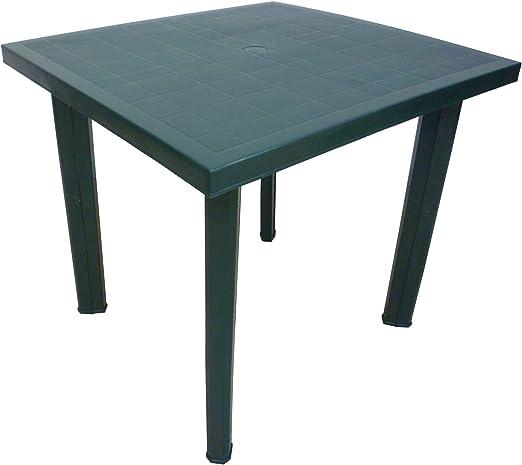 Mesa cuadrada de resina de plástico verde para exteriores Fiocco.: Amazon.es: Jardín