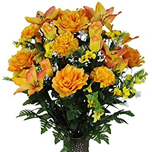 Stay-In-The-Vase Artificial Cemetery Flowers for Outdoor-Grave-Decorations - Orange-Lily and Yellow Rose Mix Fake Flowers, Non-Bleed Colors and Design 48