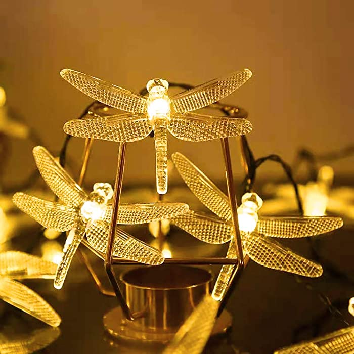 Dragonfly Solar String Lights, Solar String Lights 20.9Ft 30 LED Garden Decor Auto On/Off Fairy Lights with 8 Lighting Modes for Christmas Trees, Outdoor Garden, Patio, Fence, Wedding, Party