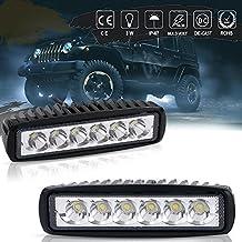 QUAKEWORLD LED Light Bar,2X 18W 6 inch Spot LED Work Light Bar Lamp Driving Light Fog Light Offroad Led Light Waterproof for SUV ATV 4WD Car Truck Van Golf Cart 12V 24V