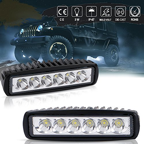 Gmc Yukon Light Bar (QUAKEWORLD LED Light Bar,2X 18W 6 inch Spot LED Work Light Bar Lamp Driving Light Fog Light Offroad Led Light Waterproof for SUV ATV 4WD Car Truck Van Golf Cart 12V 24V)