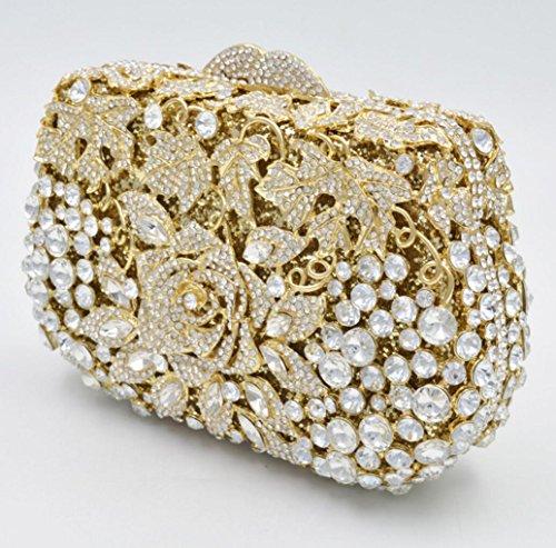 XYXM Mujeres Embrague Deluxe Diamond Cena Pack Pack de alta calidad de encargo de bolsillo de cristal bolsa bolso de la cartera , Gold Gold