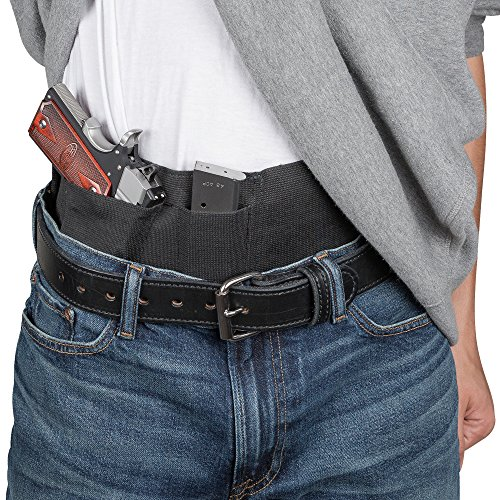 Relentless Tactical Hidden Agenda Belly Band Holster Concealed Carry Holster fits All Handguns - Made in USA | Black with Zipper - Medium ()